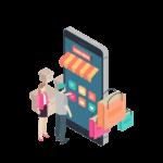visuel choix shopping sur iphone géant