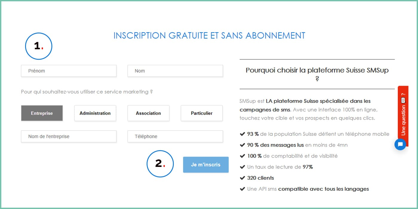 Etape 1 - inscription à la plateforme SMSup