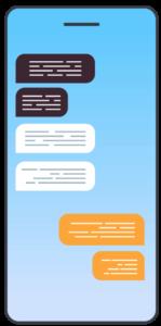 Affichage de SMS sur le téléphone portable.